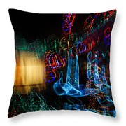 Abstract Christmas Lights - Color Twists And Swirls  Throw Pillow