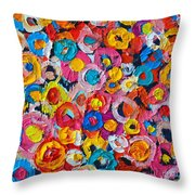 Abstract Colorful Flowers 1 - Paint Joy Series Throw Pillow