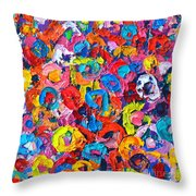 Abstract Colorful Flowers 3 - Paint Joy Series Throw Pillow