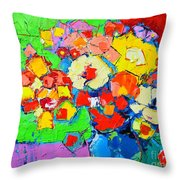 Abstract Colorful Flowers Throw Pillow
