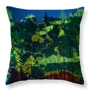 Abstract Colorful Light Projection On Trees Throw Pillow