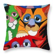 Abstract Colorful Sleepy Cats Throw Pillow