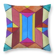Abstract Colorful Stained Glass Window Design  Throw Pillow
