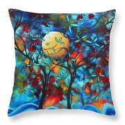 Abstract Contemporary Colorful Landscape Painting Lovers Moon By Madart Throw Pillow