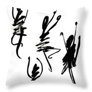Abstract Dancers In Black And White Throw Pillow