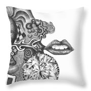 Abstract Drawing #1 - Young Woman Throw Pillow