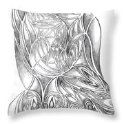 Abstract Drawing Owl Hands Roses Throw Pillow