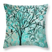 Abstract Floral Birds Landscape Painting Bird Haven II By Megan Duncanson Throw Pillow