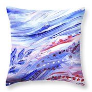 Abstract Floral Marble Waves Throw Pillow