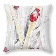 Abstract Floral Painted Background With Ladybugs Throw Pillow