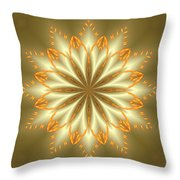 Abstract Flower In Gold And Silver Throw Pillow
