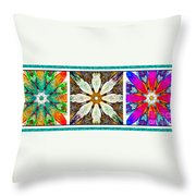 Abstract Flower Triptych Throw Pillow