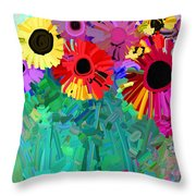 abstract - flowers- Flower Power Four Throw Pillow