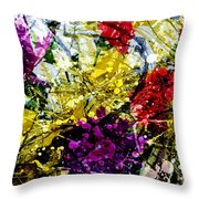 Abstract Flowers Messy Painting Throw Pillow