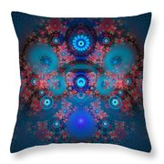 Abstract Fractal Art Blue And Red Throw Pillow