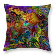 Abstract Fronds In Jewel Tones - Square Throw Pillow