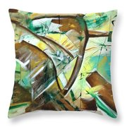 Abstract Green Throw Pillow
