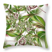 Abstract Green Plant Throw Pillow
