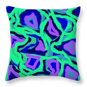 Abstract Green Purple Blue Throw Pillow