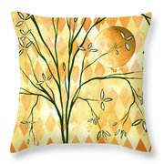Abstract Harlequin Diamond Pattern Painting Original Landscape Art Moon Tree By Megan Duncanson Throw Pillow by Megan Duncanson