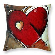 Abstract Heart Original Painting Valentines Day Heart Beat By Madart Throw Pillow