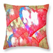 Abstract Hearts 16 Throw Pillow