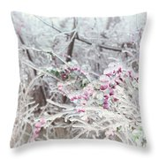 Abstract Ice Covered Shrubs Throw Pillow