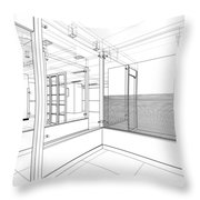 Abstract Interior Construction Throw Pillow