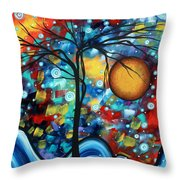 Abstract Landscap Art Original Circle Of Life Painting Sweet Serenity By Madart Throw Pillow