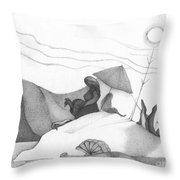 Abstract Landscape Art Black And White Beach Cirque De Mor By Romi Throw Pillow