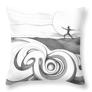 Abstract Landscape Art Black And White Yoga Zen Pose Between The Lines By Romi Throw Pillow