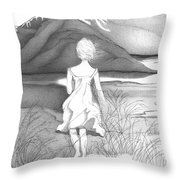 Abstract Landscape Art Black And White Dream The Jumping Off Place By Romi Throw Pillow