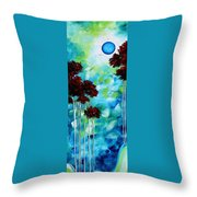 Abstract Landscape Art Original Tree And Moon Painting Blue Moon By Madart Throw Pillow
