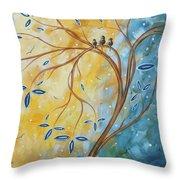 Abstract Landscape Bird Painting Original Art Blue Steel 2 By Megan Duncanson Throw Pillow