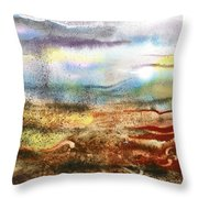 Abstract Landscape Morning Mist Throw Pillow