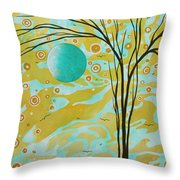 Abstract Landscape Painting Animal Print Pattern Moon And Tree By Madart Throw Pillow