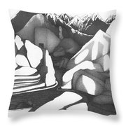 Abstract Landscape Rock Art Black And White By Romi Throw Pillow