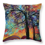Abstract Landscape Tree Art Colorful Gold Textured Original Painting Colorful Inspiration By Madart Throw Pillow