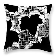 Abstract Leaf Pattern - Black White Grey Throw Pillow