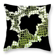 Abstract Leaf Pattern - Black White Lime Green Throw Pillow