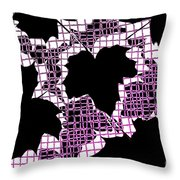 Abstract Leaf Pattern - Black White Pink Throw Pillow