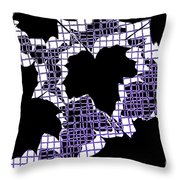 Abstract Leaf Pattern - Black White Purple Throw Pillow