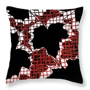 Abstract Leaf Pattern - Black White Red Throw Pillow