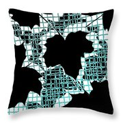 Abstract Leaf Pattern - Black White Turquoise Throw Pillow