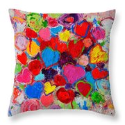 Abstract Love Bouquet Of Colorful Hearts And Flowers Throw Pillow