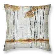 Abstract Neutral Landscape Pond Reflection Painting Mystified Dreams I By Megan Ducanson Throw Pillow