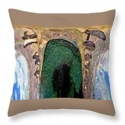Abstract Of Penguins On Ice Throw Pillow