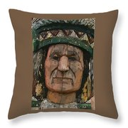 Abstract Of Wooden Indian Head Throw Pillow