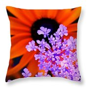 Abstract Orange And Purple Flower Throw Pillow