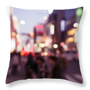 Abstract Out-of-focus City Scenery With Colorful Lights Throw Pillow